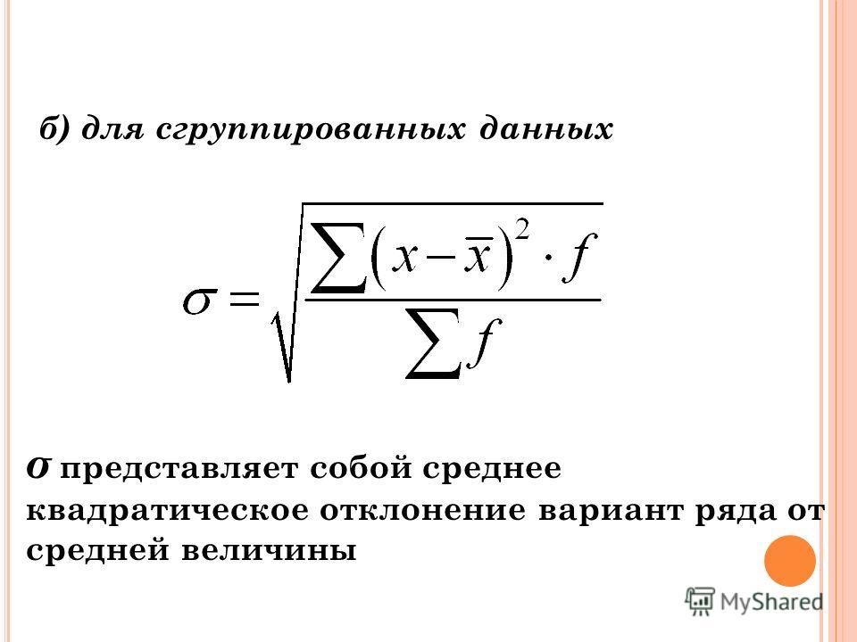 Среднее квадратическое отклонение а) для несгруппированных данных