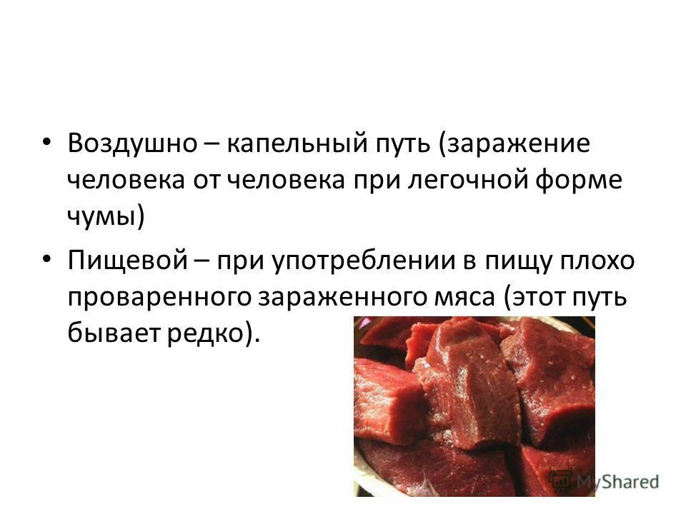 Воздушно – капельный путь (заражение человека от человека при легочной форме чумы) Пищевой – при употреблении в пищу плохо проваренного зараженного мяса (этот путь бывает редко).