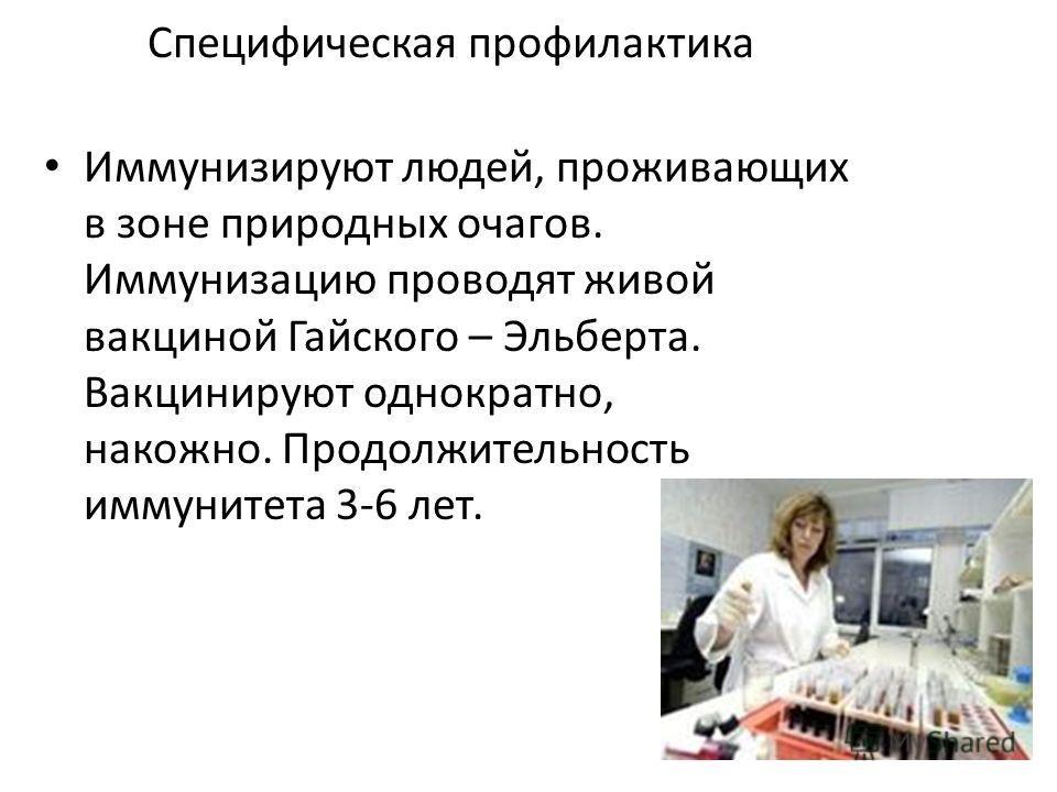 Специфическая профилактика Иммунизируют людей, проживающих в зоне природных очагов. Иммунизацию проводят живой вакциной Гайского – Эльберта. Вакцинируют однократно, накожно. Продолжительность иммунитета 3-6 лет.