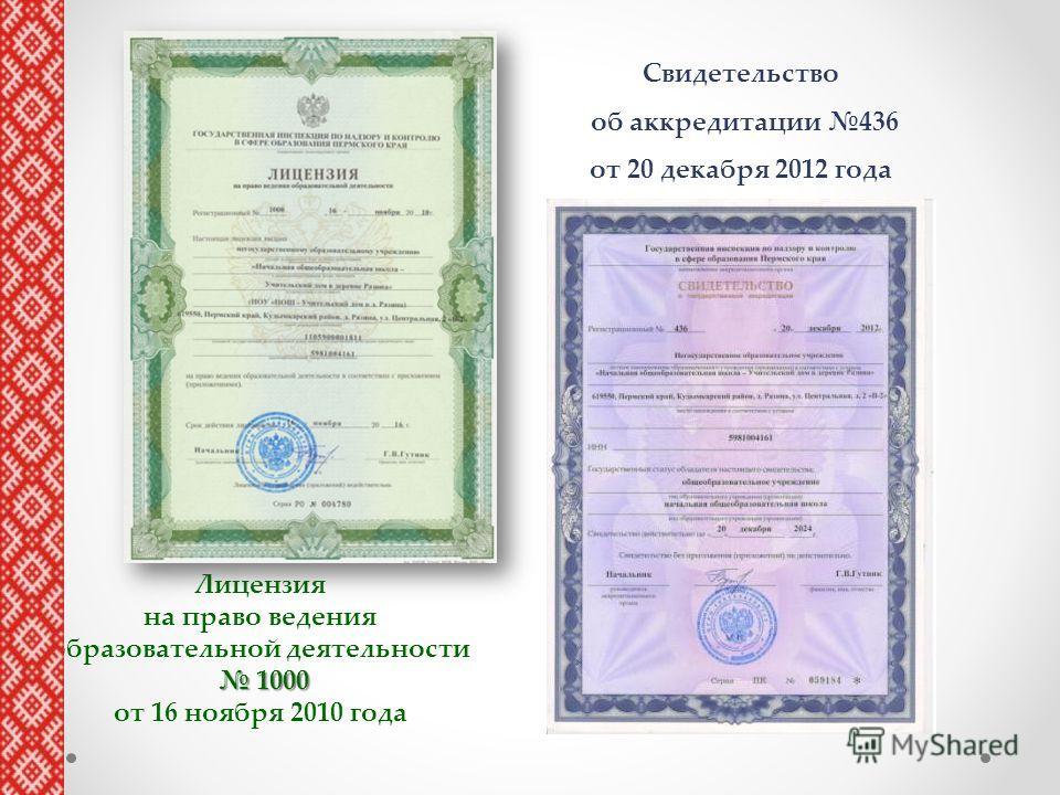 Лицензия на право ведения образовательной деятельности 1000 1000 от 16 ноября 2010 года Свидетельство об аккредитации 436 от 20 декабря 2012 года