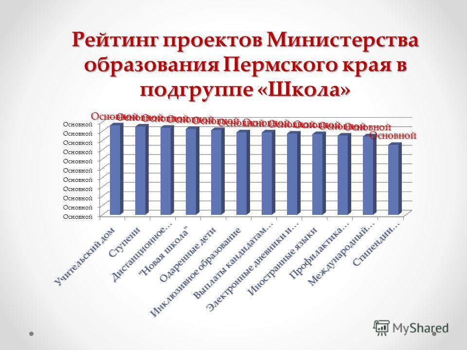 Рейтинг проектов Министерства образования Пермского края в подгруппе «Школа»