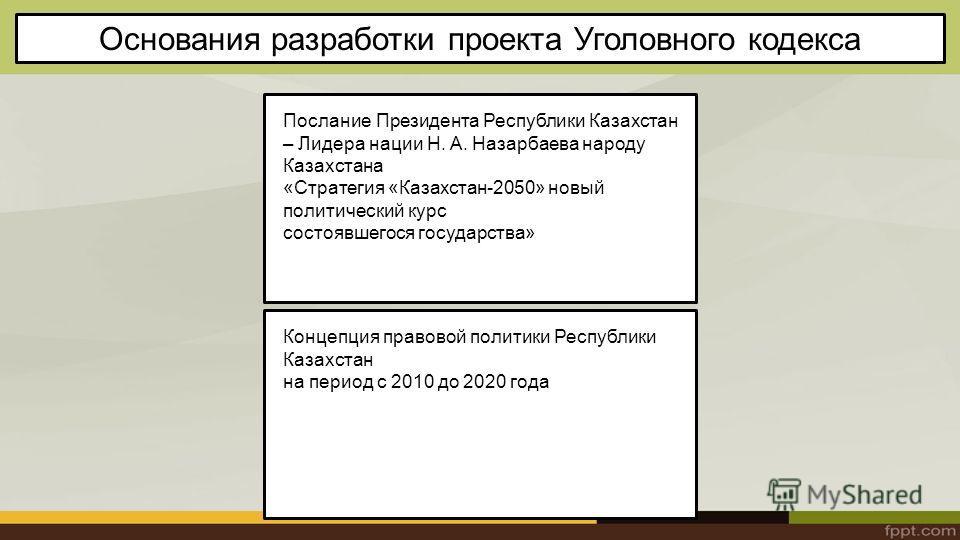 Основания разработки проекта Уголовного кодекса Послание Президента Республики Казахстан – Лидера нации Н. А. Назарбаева народу Казахстана «Стратегия «Казахстан-2050» новый политический курс состоявшегося государства» Концепция правовой политики Респ