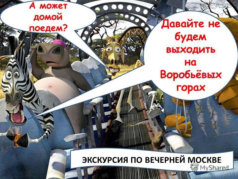 Давайте не будем выходить на Воробьёвых горах А может домой поедем? ЭКСКУРСИЯ ПО ВЕЧЕРНЕЙ МОСКВЕ