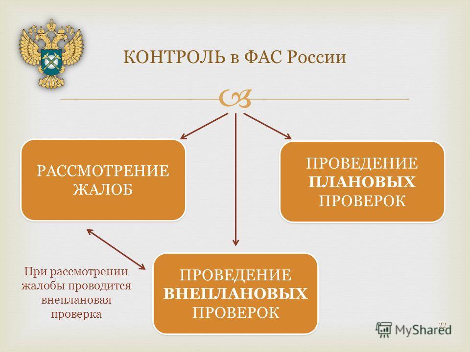 КОНТРОЛЬ в ФАС России 22 РАССМОТРЕНИЕ ЖАЛОБ ПРОВЕДЕНИЕ ПЛАНОВЫХ ПРОВЕРОК ПРОВЕДЕНИЕ ВНЕПЛАНОВЫХ ПРОВЕРОК При рассмотрении жалобы проводится внеплановая проверка