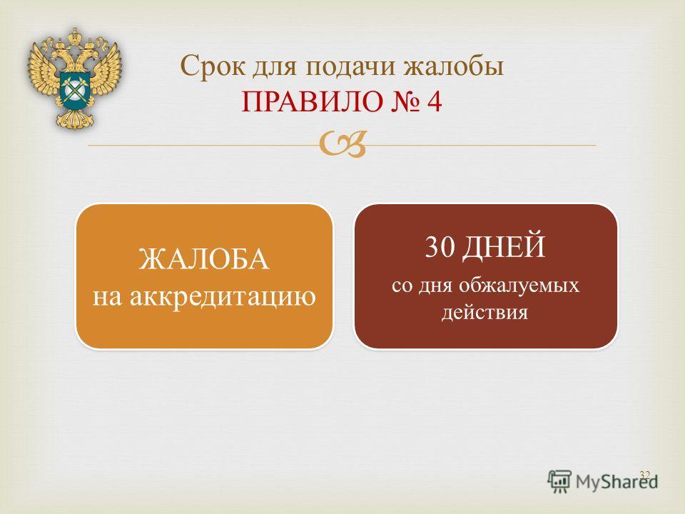 Срок для подачи жалобы ПРАВИЛО 4 32 ЖАЛОБА на аккредитацию ЖАЛОБА на аккредитацию 30 ДНЕЙ со дня обжалуемых действия 30 ДНЕЙ со дня обжалуемых действия