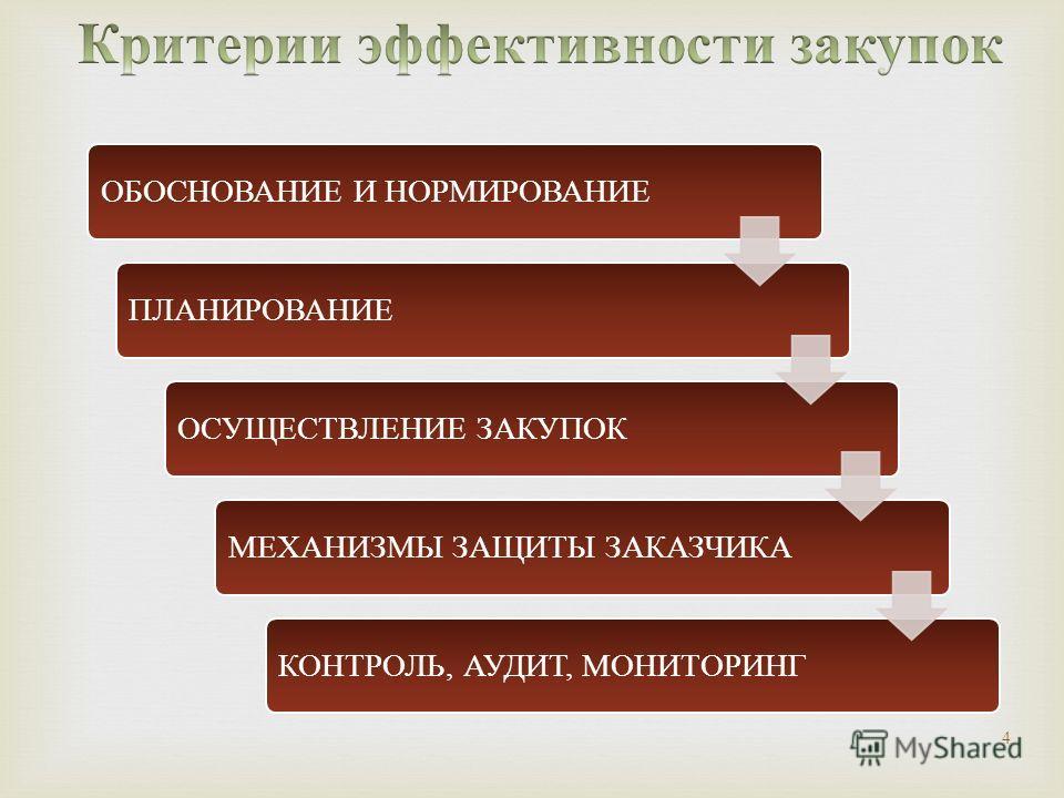 4 ОБОСНОВАНИЕ И НОРМИРОВАНИЕПЛАНИРОВАНИЕОСУЩЕСТВЛЕНИЕ ЗАКУПОКМЕХАНИЗМЫ ЗАЩИТЫ ЗАКАЗЧИКАКОНТРОЛЬ, АУДИТ, МОНИТОРИНГ