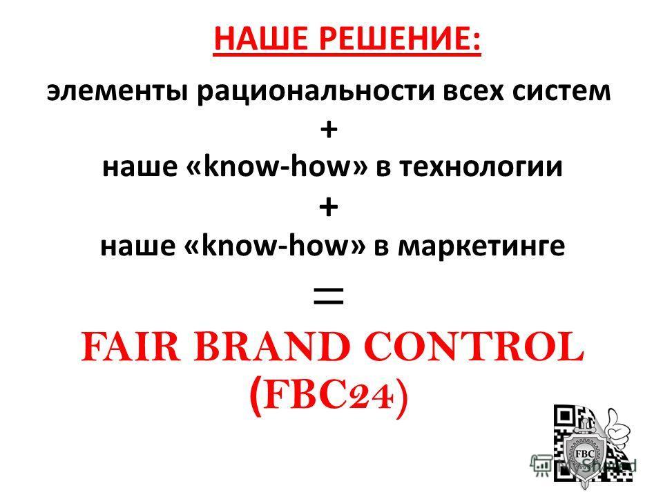 НАШЕ РЕШЕНИЕ: элементы рациональности всех систем + наше «know-how» в технологии + наше «know-how» в маркетинге = FAIR BRAND CONTROL ( FBC24)