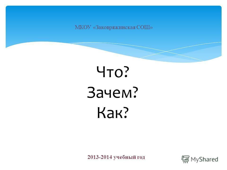 Что? Зачем? Как? МКОУ «Заковряжинская СОШ» 2013-2014 учебный год