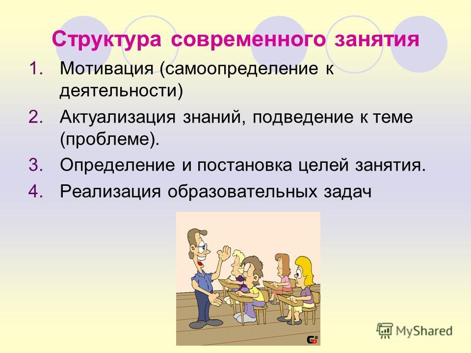 Структура современного занятия 1.Мотивация (самоопределение к деятельности) 2.Актуализация знаний, подведение к теме (проблеме). 3.Определение и постановка целей занятия. 4.Реализация образовательных задач