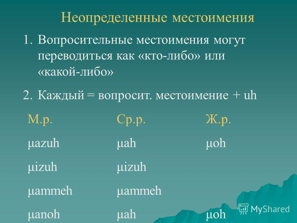 Неопределенные местоимения 1.Вопросительные местоимения могут переводиться как «кто-либо» или «какой-либо» 2.Каждый = вопросит. местоимение + uh М.р.Ср.р.Ж.р. μazuhμahμoh μizuhμizuh μammehμammeh μanohμahμoh