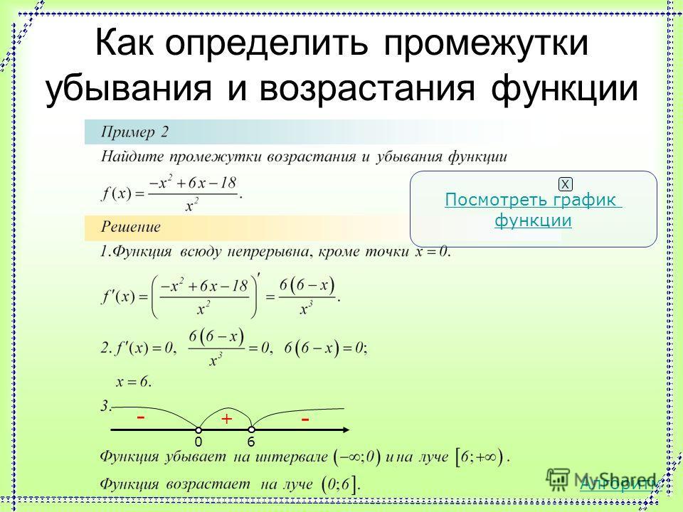 Как определить промежутки убывания и возрастания функции 2 + - - Посмотреть график функции Х Алгоритм