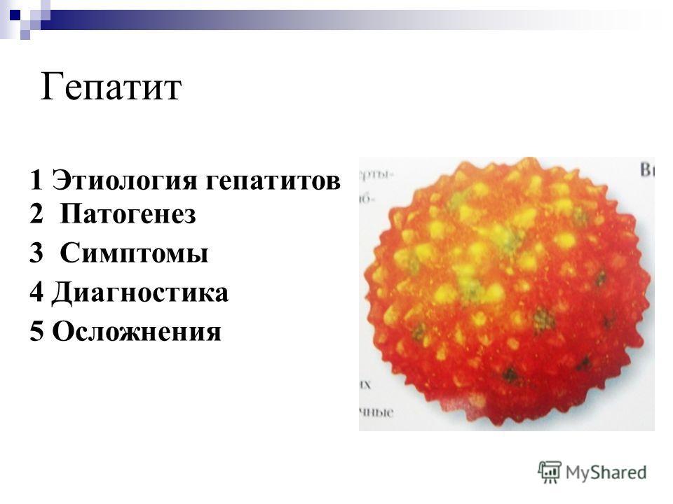 Гепатит 1 Этиология гепатитов 2 Патогенез 3 Симптомы 4 Диагностика 5 Осложнения