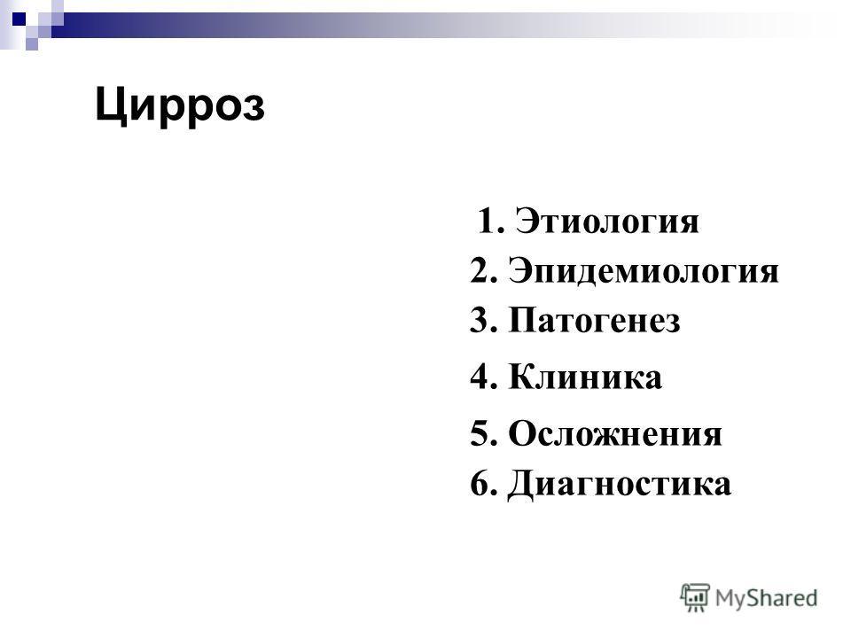 2. Эпидемиология 1. Этиология Цирроз 3. Патогенез 4. Клиника 5. Осложнения 6. Диагностика