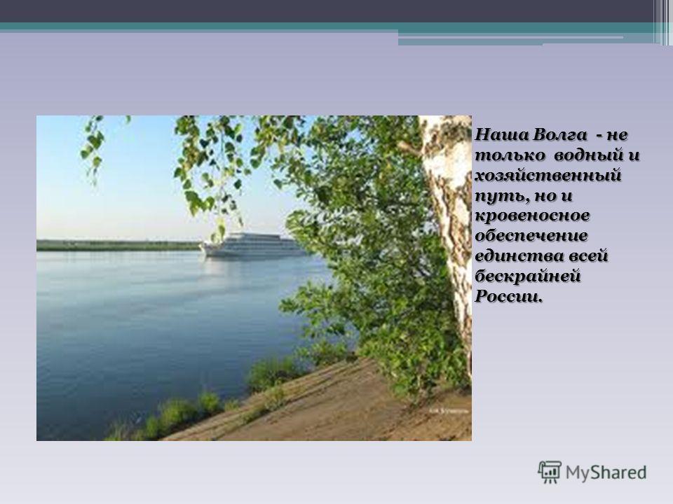 Наша Волга - не только водный и хозяйственный путь, но и кровеносное обеспечение единства всей бескрайней России.