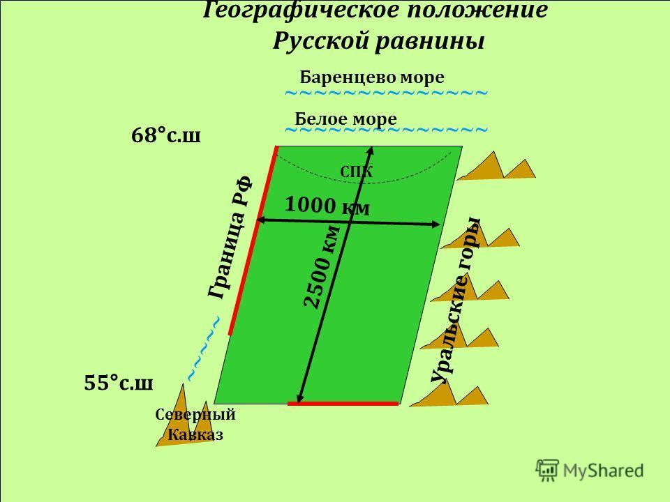 Географическое положение Русской равнины Уральские горы Граница РФ Северный Кавказ ~~~~~ ~~~~~~~~~~~~~~ Белое море ~~~~~~~~~~~~~~ Баренцево море 2500 км 1000 км СПК 68 ° с.ш 55 ° с.ш