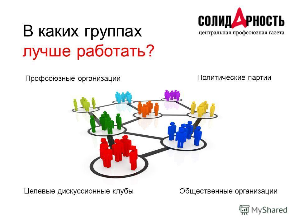 В каких группах лучше работать? Профсоюзные организации Политические партии Общественные организацииЦелевые дискуссионные клубы