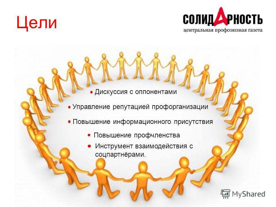 Цели Управление репутацией профорганизации Повышение информационного присутствия Повышение профчленства Дискуссия с оппонентами Инструмент взаимодействия с соцпартнёрами.