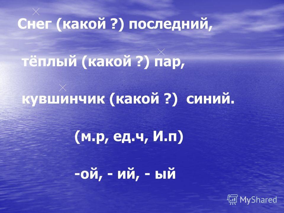 Снег (какой ?) последний, тёплый (какой ?) пар, кувшинчик (какой ?) синий. (м.р, ед.ч, И.п) -ой, - ий, - ый