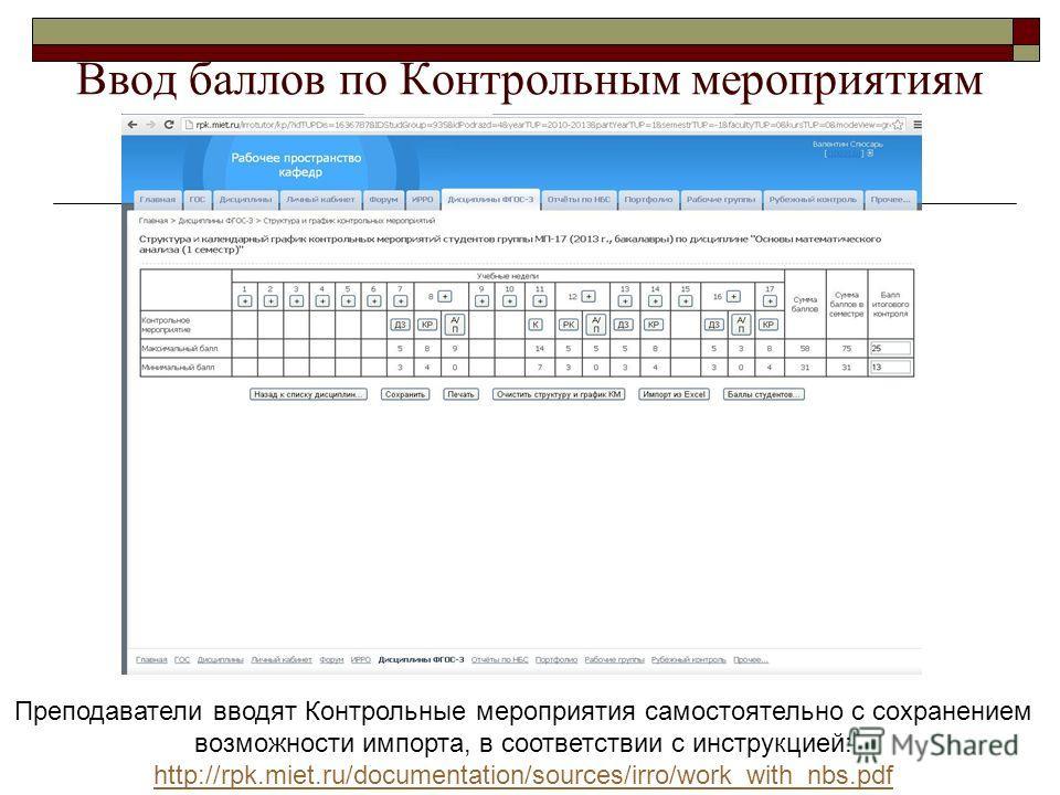 Ввод баллов по Контрольным мероприятиям Преподаватели вводят Контрольные мероприятия самостоятельно с сохранением возможности импорта, в соответствии с инструкцией: http://rpk.miet.ru/documentation/sources/irro/work_with_nbs.pdf http://rpk.miet.ru/do