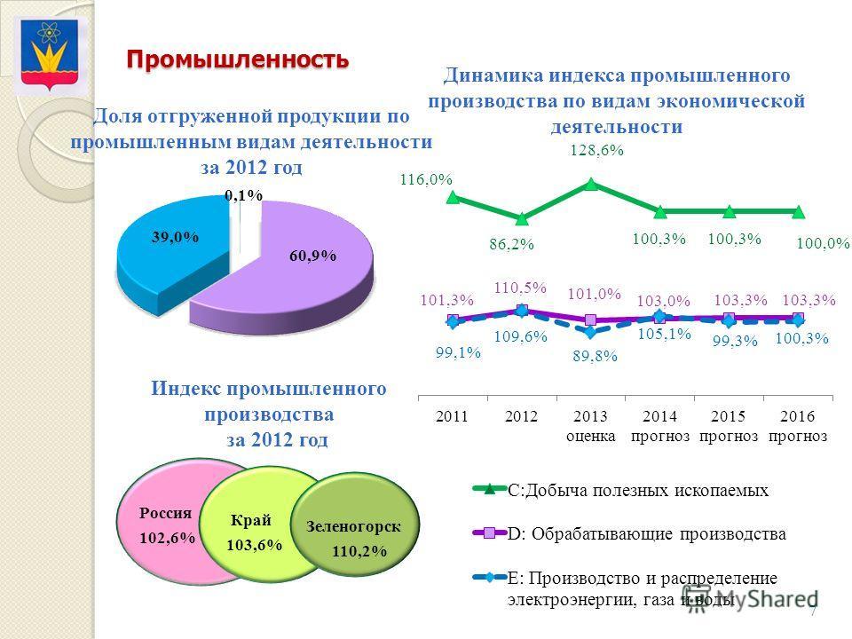 Промышленность 7 Доля отгруженной продукции по промышленным видам деятельности за 2012 год Россия 102,6% Край 103,6% Зеленогорск 110,2% Динамика индекса промышленного производства по видам экономической деятельности Индекс промышленного производства