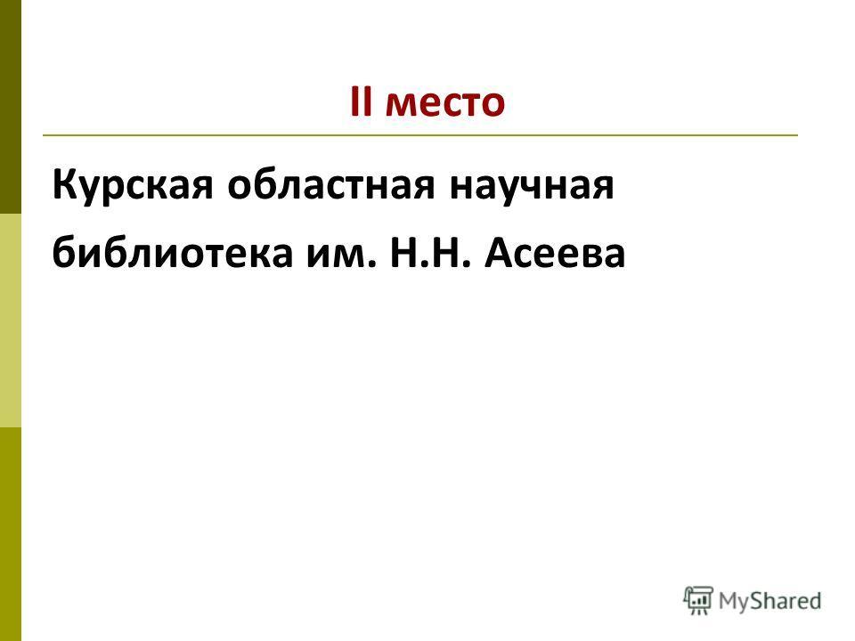 II место Курская областная научная библиотека им. Н.Н. Асеева
