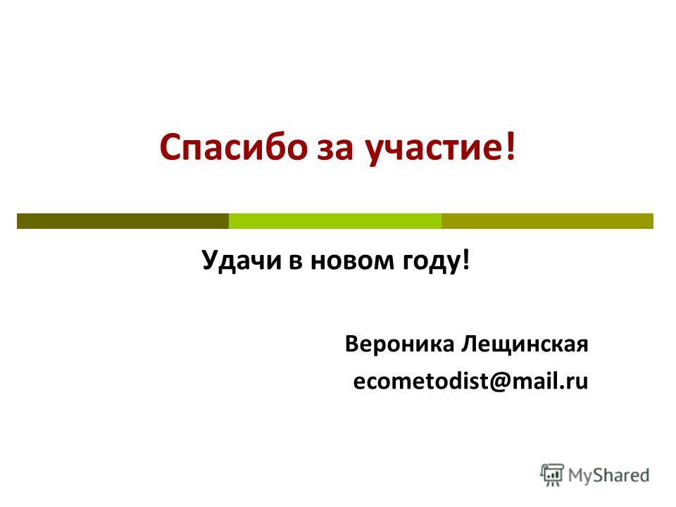 Спасибо за участие! Удачи в новом году! Вероника Лещинская ecometodist@mail.ru