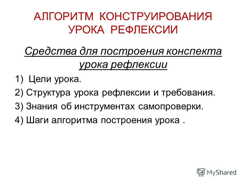 АЛГОРИТМ КОНСТРУИРОВАНИЯ УРОКА