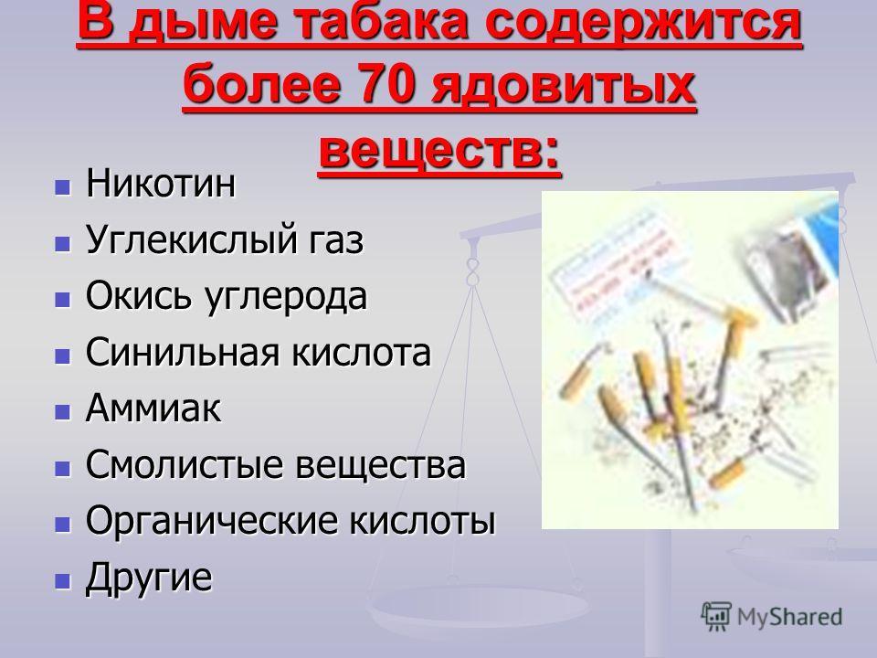 В дыме табака содержится более 70 ядовитых веществ: Никотин Никотин Углекислый газ Углекислый газ Окись углерода Окись углерода Синильная кислота Синильная кислота Аммиак Аммиак Смолистые вещества Смолистые вещества Органические кислоты Органические