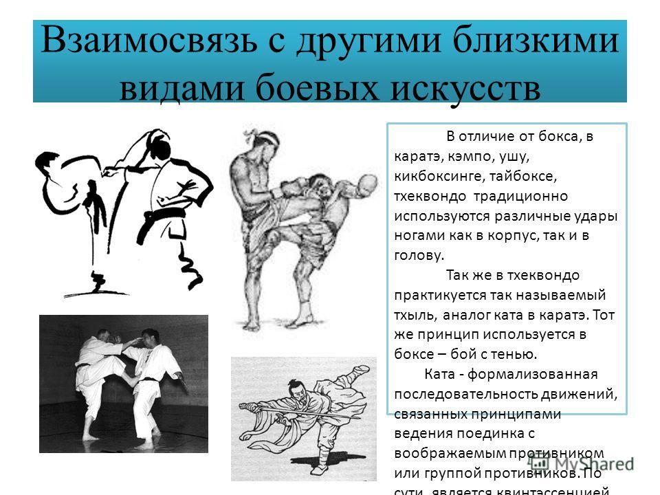 Взаимосвязь с другими близкими видами боевых искусств В отличие от бокса, в каратэ, кэмпо, ушу, кикбоксинге, тайбоксе, тхеквондо традиционно используются различные удары ногами как в корпус, так и в голову. Так же в тхеквондо практикуется так называе