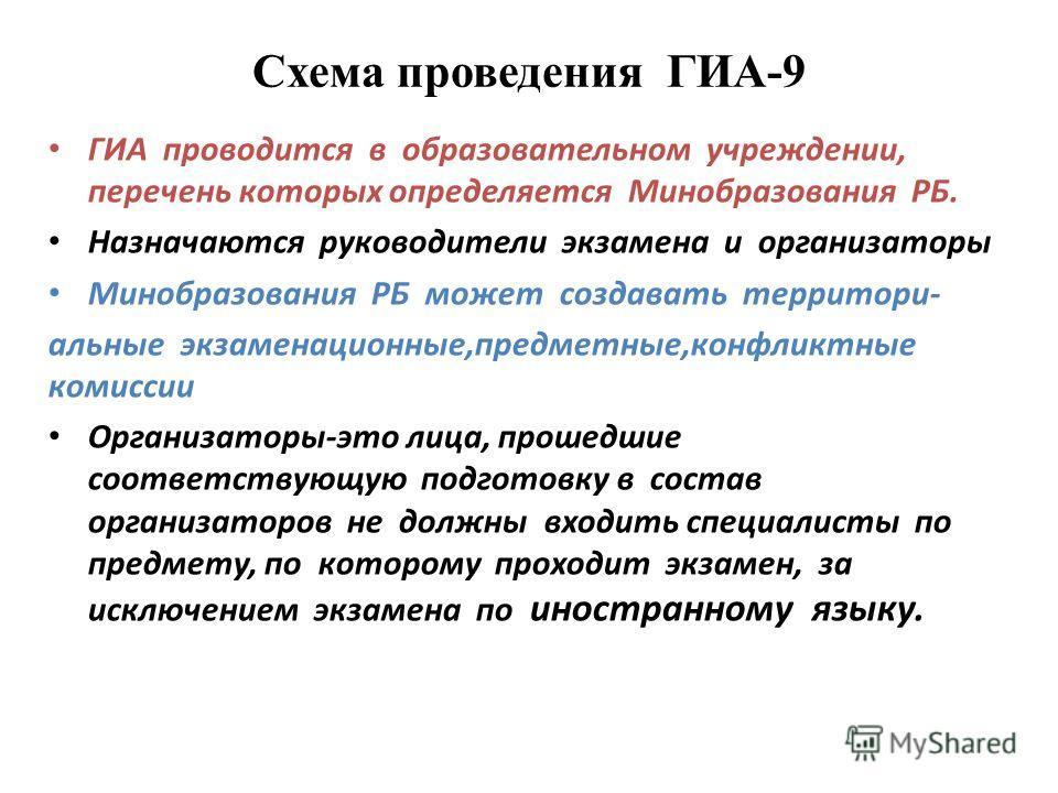 Схема проведения ГИА-9 ГИА проводится в образовательном учреждении, перечень которых определяется Минобразования РБ. Назначаются руководители экзамена и организаторы Минобразования РБ может создавать территори- альные экзаменационные,предметные,конфл