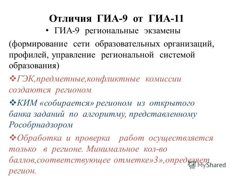 Отличия ГИА-9 от ГИА-11 ГИА-9 региональные экзамены (формирование сети образовательных организаций, профилей, управление региональной системой образования) ГЭК,предметные,конфликтные комиссии создаются регионом КИМ «собирается» регионом из открытого