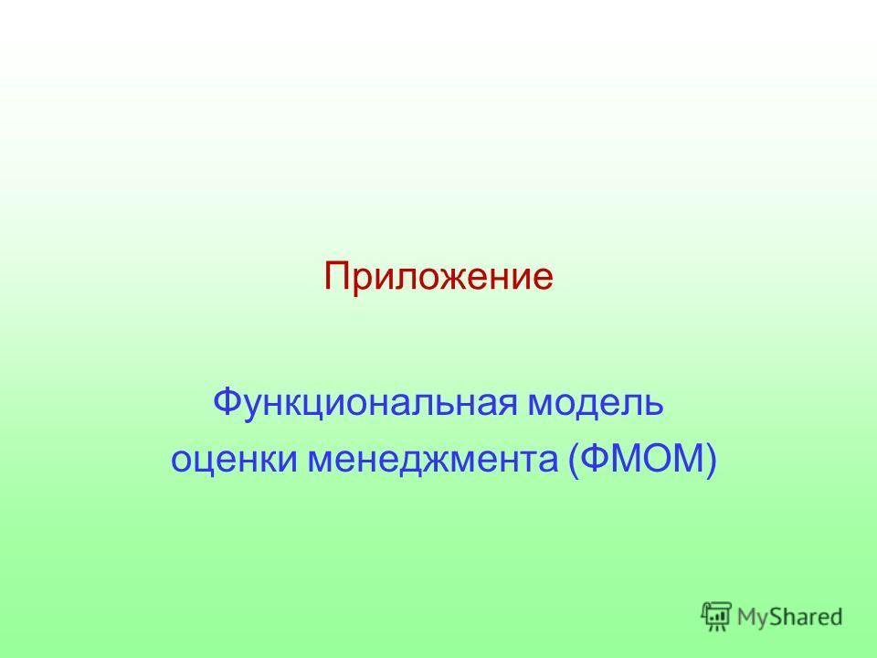 Приложение Функциональная модель оценки менеджмента (ФМОМ)