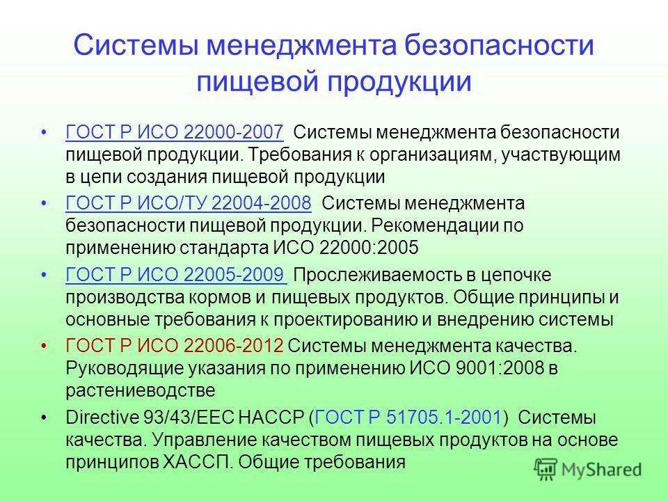 Системы менеджмента безопасности пищевой продукции ГОСТ Р ИСО 22000-2007 Системы менеджмента безопасности пищевой продукции. Требования к организациям, участвующим в цепи создания пищевой продукции ГОСТ Р ИСО/ТУ 22004-2008 Системы менеджмента безопас