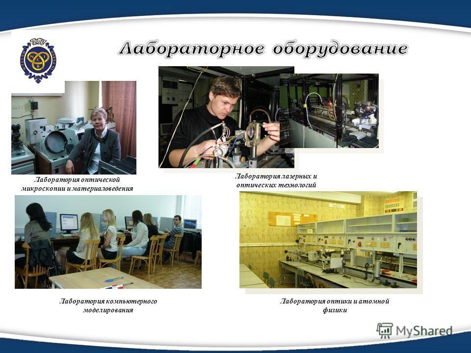 Лаборатория оптической микроскопии и материаловедения Лаборатория лазерных и оптических технологий Лаборатория оптики и атомной физики Лаборатория компьютерного моделирования