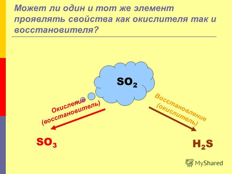 Может ли один и тот же элемент проявлять свойства как окислителя так и восстановителя? SO 2 Окисление (восстановитель) Восстановление (окислитель) SO 3 H2SH2S