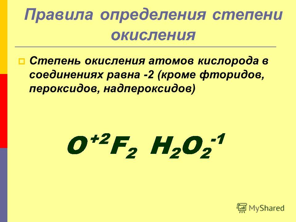 Степень окисления атомов кислорода в соединениях равна -2 (кроме фторидов, пероксидов, надпероксидов) Правила определения степени окисления