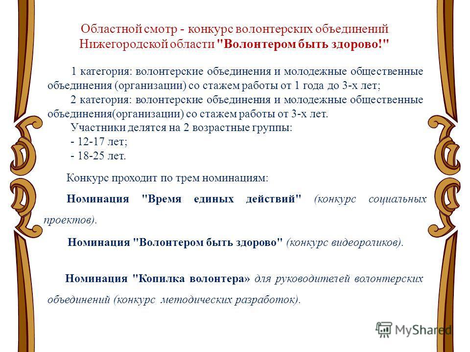 Областной смотр - конкурс волонтерских объединений Нижегородской области