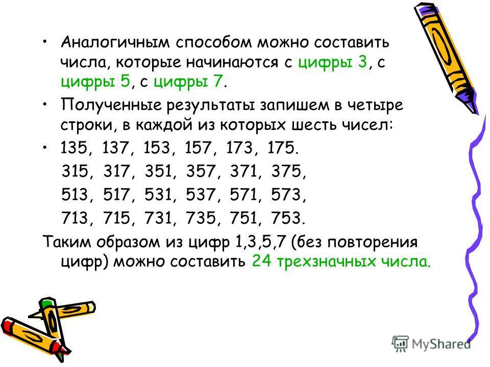 Аналогичным способом можно составить числа, которые начинаются с цифры 3, с цифры 5, с цифры 7. Полученные результаты запишем в четыре строки, в каждой из которых шесть чисел: 135, 137, 153, 157, 173, 175. 315, 317, 351, 357, 371, 375, 513, 517, 531,