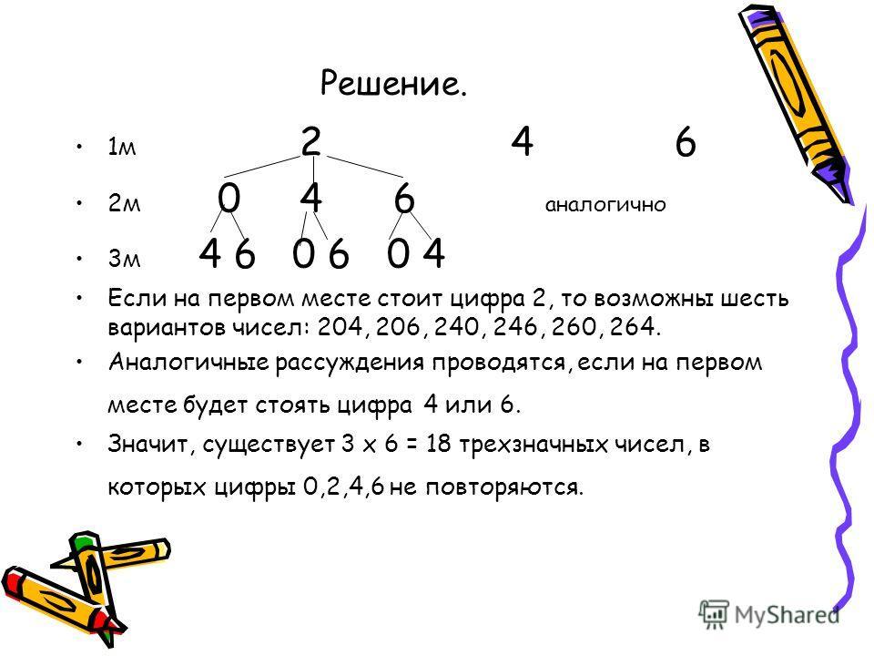 Решение. 1м 2 4 6 2м 0 4 6 аналогично 3м 4 6 0 6 0 4 Если на первом месте стоит цифра 2, то возможны шесть вариантов чисел: 204, 206, 240, 246, 260, 264. Аналогичные рассуждения проводятся, если на первом месте будет стоять цифра 4 или 6. Значит, сущ