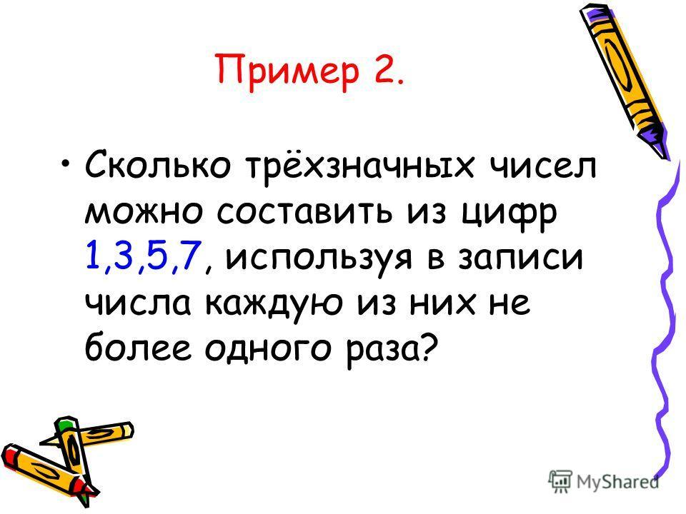 Пример 2. Сколько трёхзначных чисел можно составить из цифр 1,3,5,7, используя в записи числа каждую из них не более одного раза?