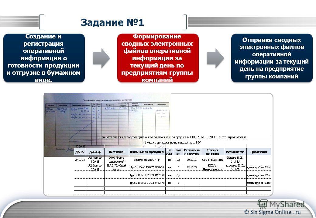 © Six Sigma Online. ru Задание 1 Создание и регистрация оперативной информации о готовности продукции к отгрузке в бумажном виде. Отправка сводных электронных файлов оперативной информации за текущий день на предприятие группы компаний Формирование с