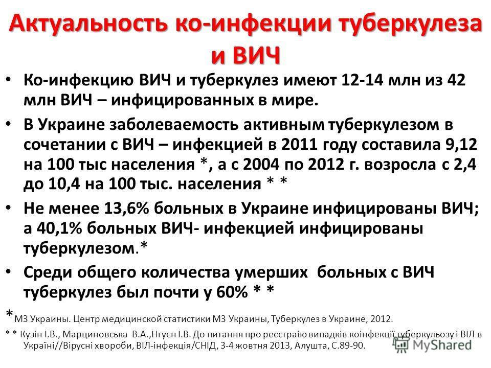 Актуальность ко-инфекции туберкулеза и ВИЧ Ко-инфекцию ВИЧ и туберкулез имеют 12-14 млн из 42 млн ВИЧ – инфицированных в мире. В Украине заболеваемость активным туберкулезом в сочетании с ВИЧ – инфекцией в 2011 году составила 9,12 на 100 тыс населени