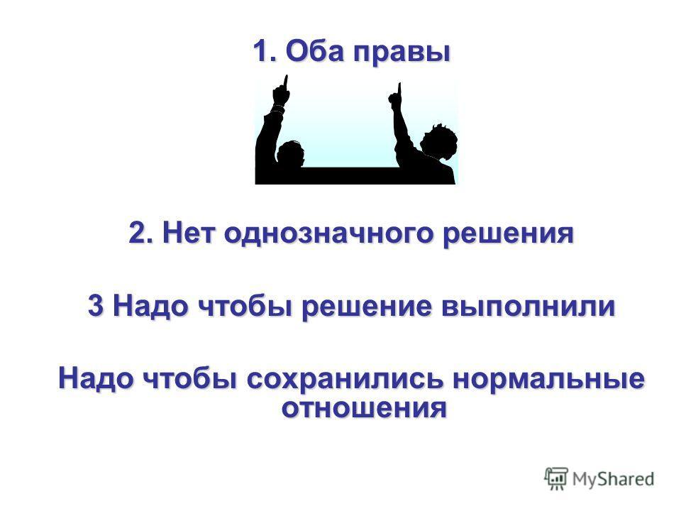 1. Оба правы 2. Нет однозначного решения 3 Надо чтобы решение выполнили Надо чтобы сохранились нормальные отношения