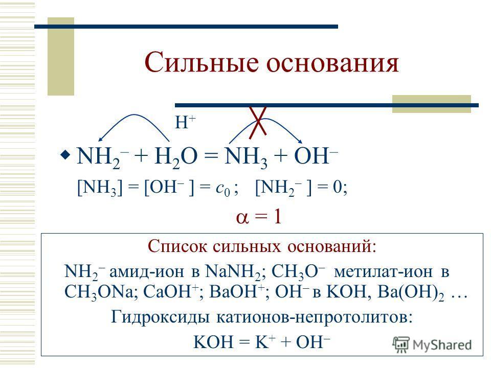 Сильные основания H + NH 2 – + H 2 O = NH 3 + OH – [NH 3 ] = [OH – ] = c 0 ; [NH 2 – ] = 0; = 1 Список сильных оснований: NH 2 – амид-ион в NaNH 2 ; CH 3 O – метилат-ион в СH 3 ONa; CaOH + ; BaOH + ; OH – в KOH, Ba(OH) 2 … Гидроксиды катионов-непрото