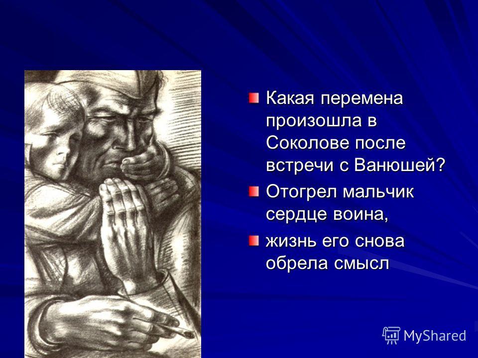 Какая перемена произошла в Соколове после встречи с Ванюшей? Отогрел мальчик сердце воина, жизнь его снова обрела смысл