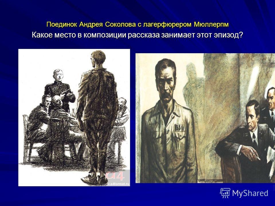 Поединок Андрея Соколова с лагерфюрером Мюллерпм Какое место в композиции рассказа занимает этот эпизод?