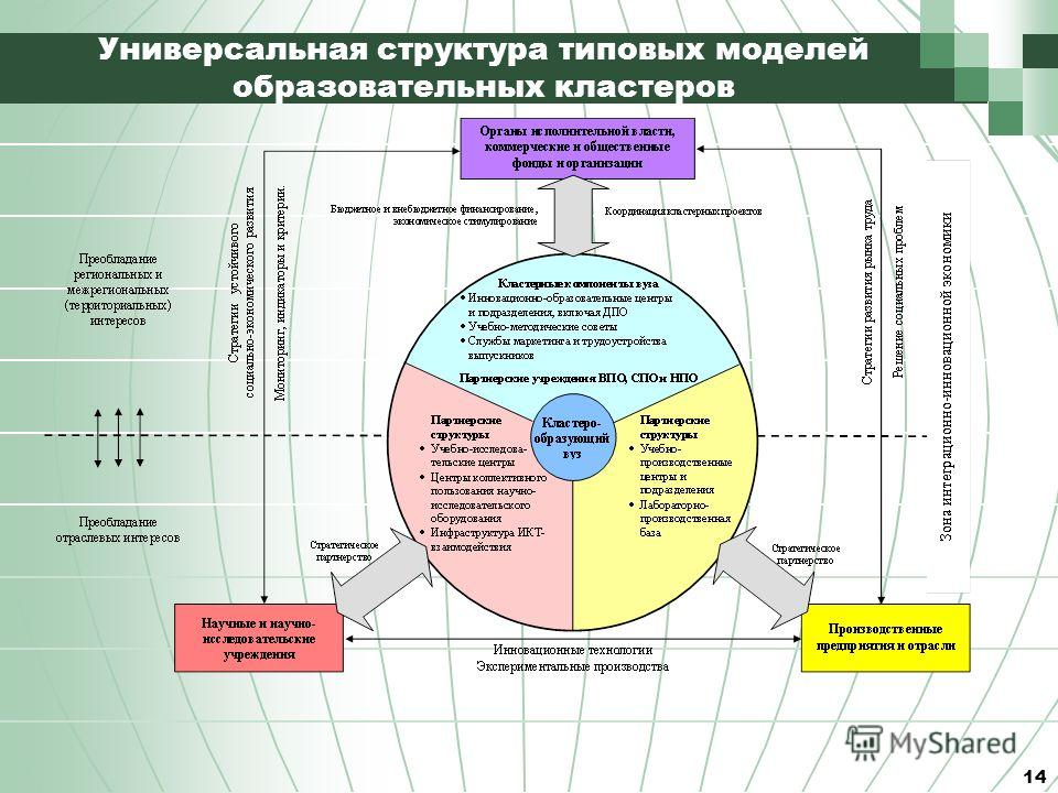 14 Универсальная структура типовых моделей образовательных кластеров