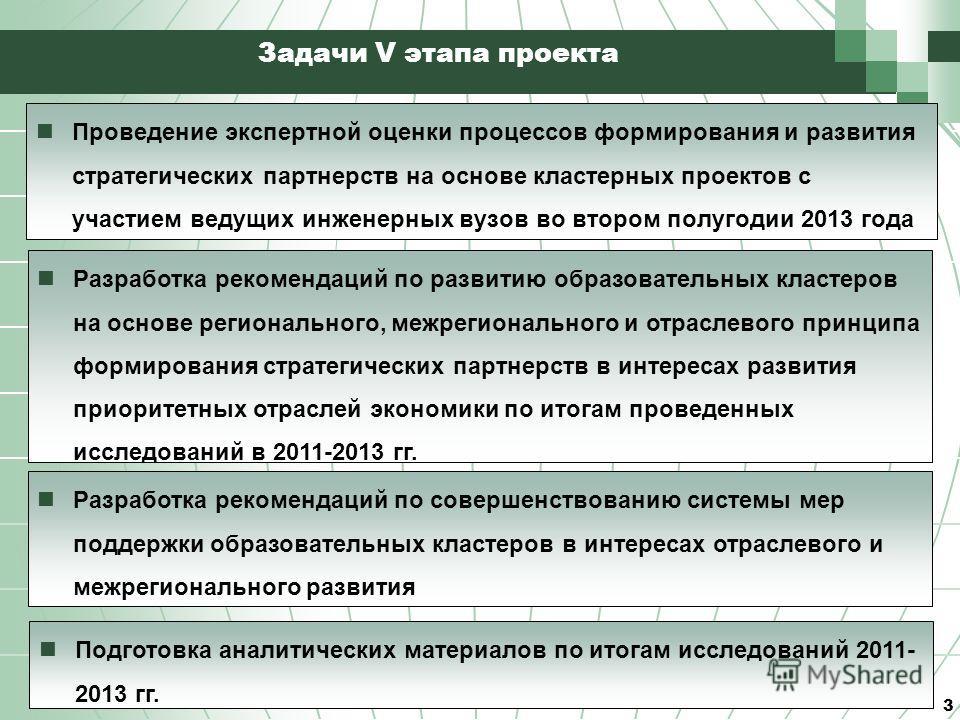3 Задачи V этапа проекта Проведение экспертной оценки процессов формирования и развития стратегических партнерств на основе кластерных проектов с участием ведущих инженерных вузов во втором полугодии 2013 года Разработка рекомендаций по развитию обра
