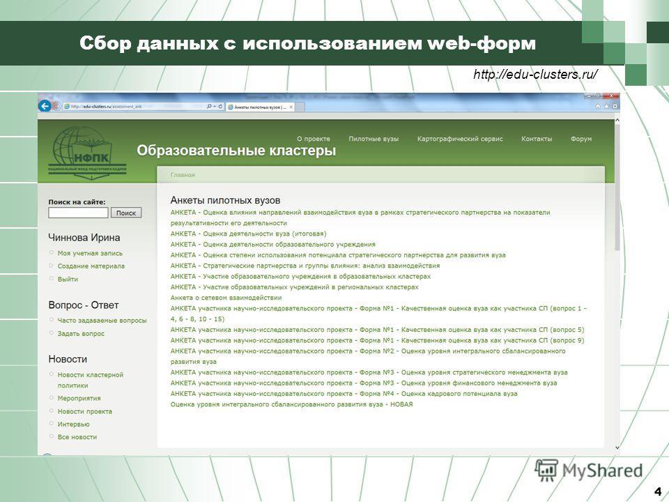 Сбор данных с использованием web-форм 4 http://edu-clusters.ru/
