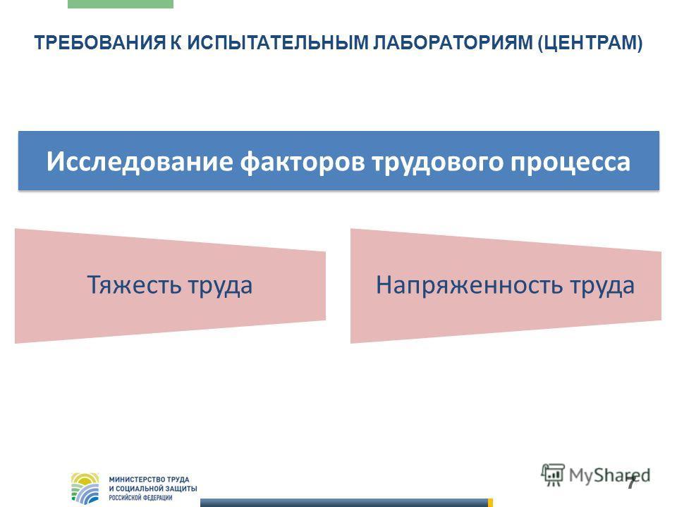 ТРЕБОВАНИЯ К ИСПЫТАТЕЛЬНЫМ ЛАБОРАТОРИЯМ (ЦЕНТРАМ) 7 Тяжесть трудаНапряженность труда Исследование факторов трудового процесса